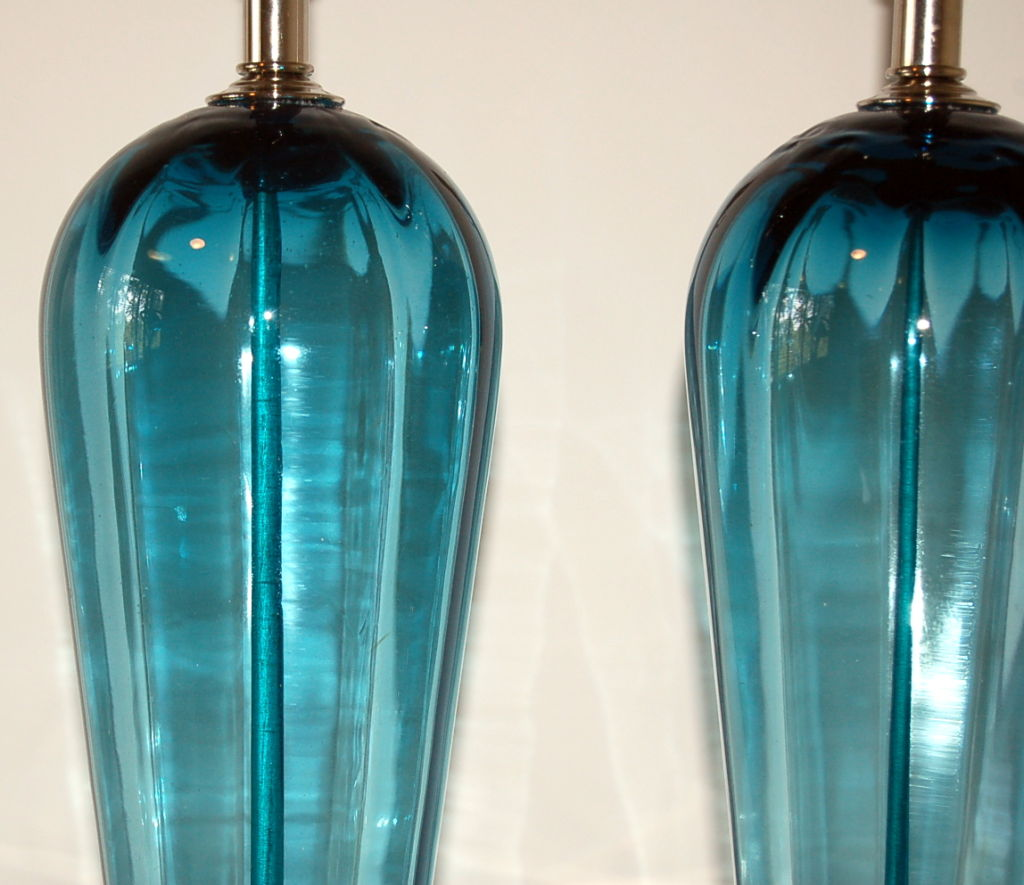 Teal Blue Vintage Murano Table Lamps Swank Lighting