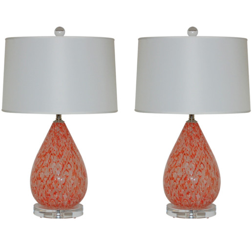 Vintage Murano Table Lamps in Tobasco