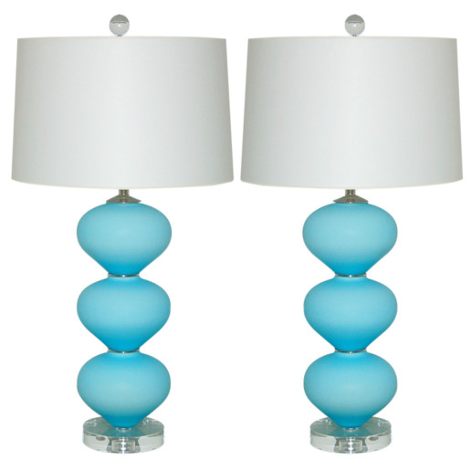 Pair of Vintage Murano Lamps in Satin Sky Blue