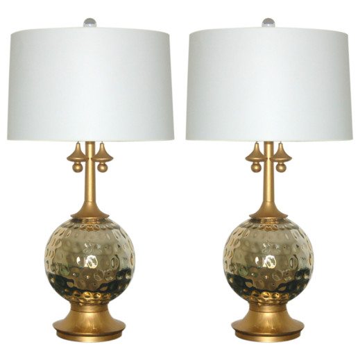 Pair of Vintage Mercury Glass Lamps in Champagne