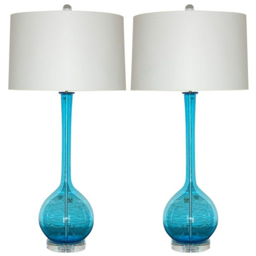 Murano Long Neck Table Lamps of Ocean Blue