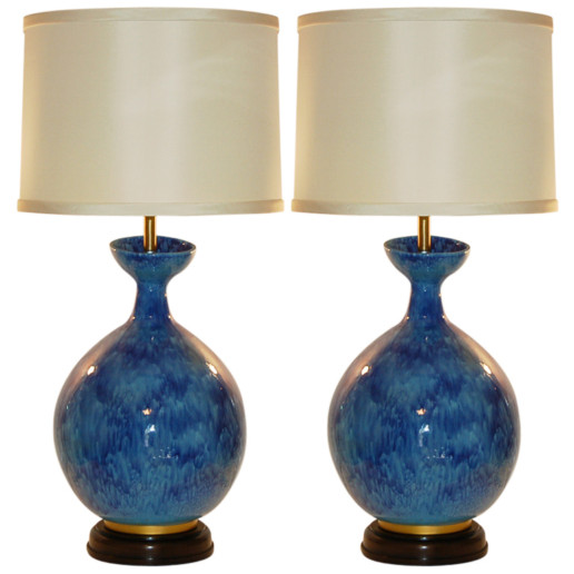 HUGE Vintage Italian Ceramic Table Lamps by The Marbro Lamp Company
