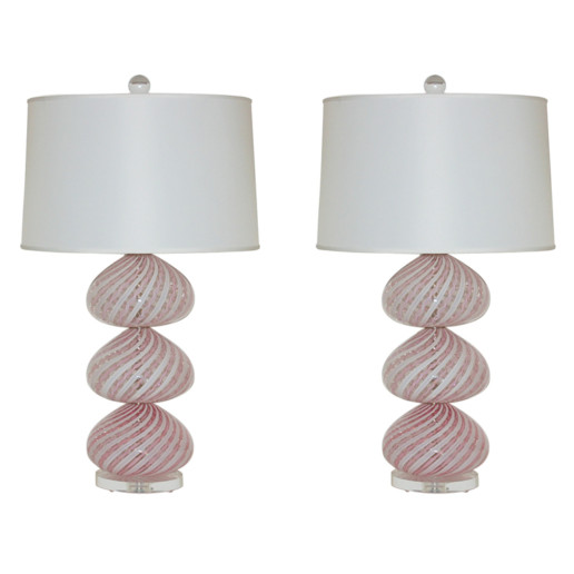 Stacked and Striped Pink Murano Lamps