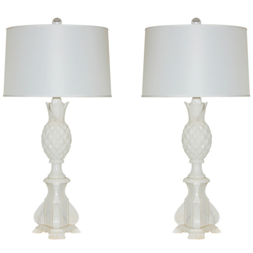 Pair of Vintage Italian Alabaster Pineapple Lamps