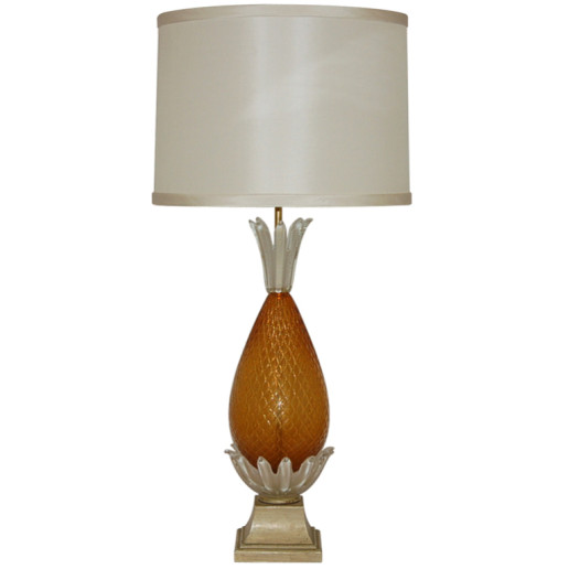 Butterscotch Opaline Pineapple Vintage Murano Lamp