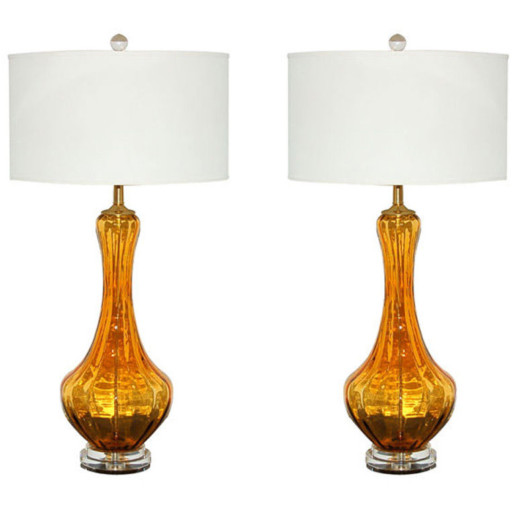 Petticoat Lamps of Rich Butterscotch Murano Glass