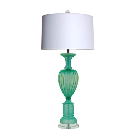 The Marbro Lamp Company - Aqua Green Murano Lamp with Acidato Finish