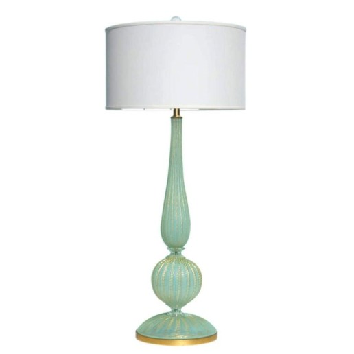 Huge Murano Lamp in Luscious Aqua and Gold