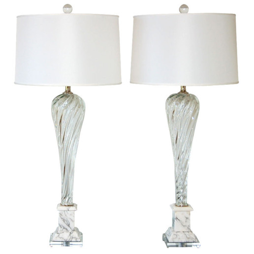 Vintage Murano Lamps in Crystal Clear on Italian Marble