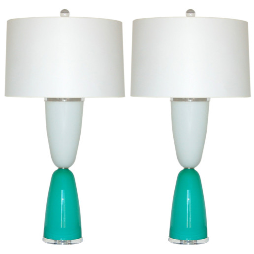Murano Lamps of Aqua and White on Lucite