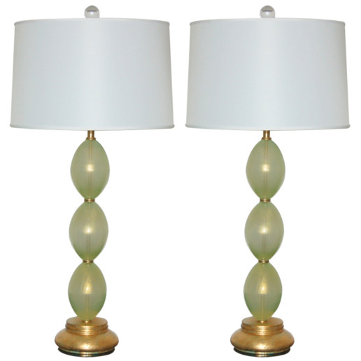 Stacked Egg Murano Lamps in Celadon