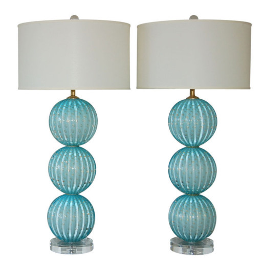 Stacked Three Ball Murano Lamps in Dreamy Blue with Gold Dust