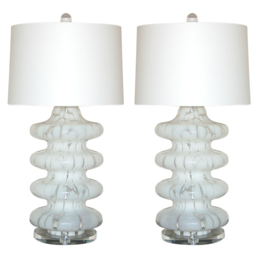 Four Tiered Mottled Lamps of White and Clear