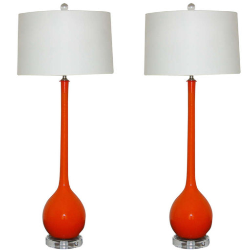 Long Neck ped Murano Table Lamps in Persimmon