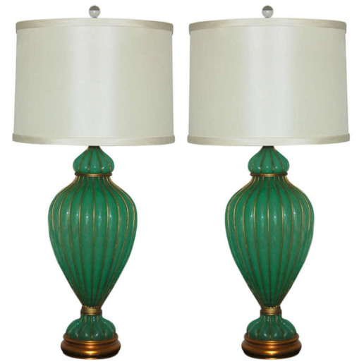 Marbro Lamp Company - Murano Lamps of Mint Opaline