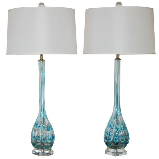 Long Necked Murano Lamps with Applied Glass Drips of Aquamarine