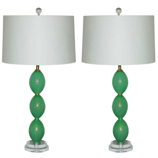 Stacked Egg Murano Lamps in Lime Mint