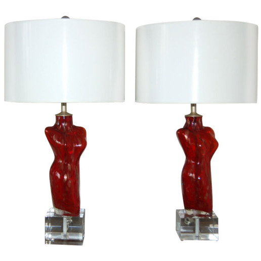Venus Murano Lamps on Lucite Cube
