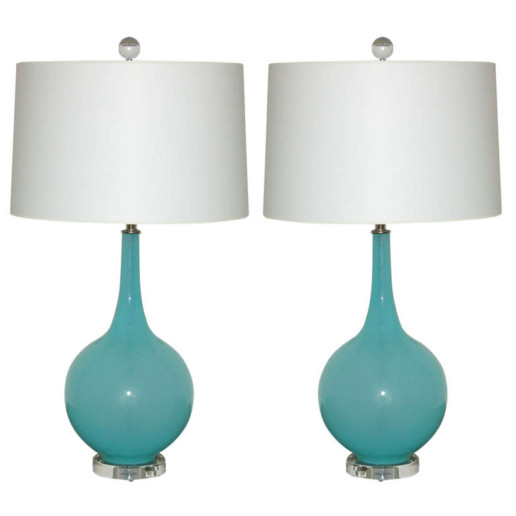 Tiffany Box Murano Table Lamps on Lucite