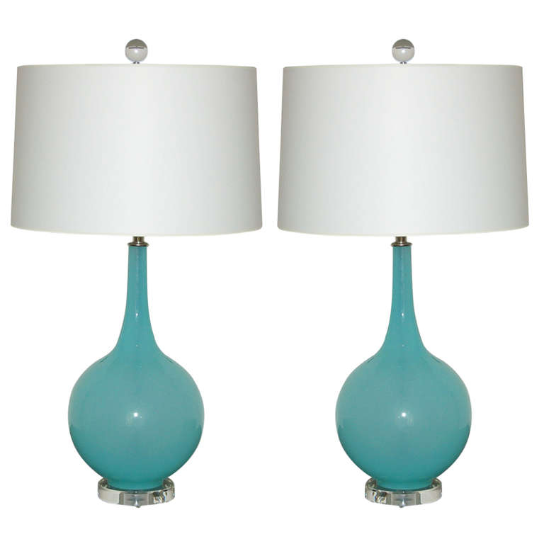 Attractive Tiffany Box Murano Table Lamps On Lucite