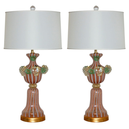 Classic Filigrana Lamps with Applied Fruit in Terra Cotta