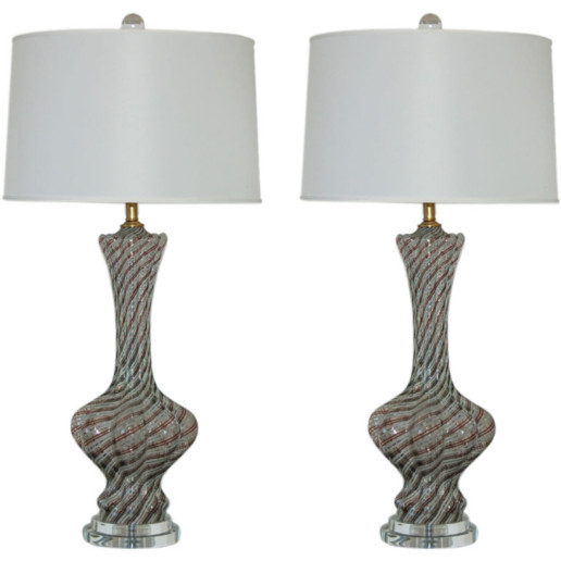Classic Filigrana Lamps on Lucite of Bronze