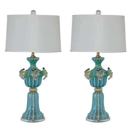 Filigrana Murano Lamps with Applied Fruit in Aqua