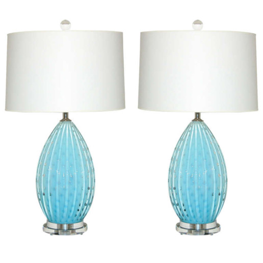 Vintage Murano Lamps of Robin's Egg Blue