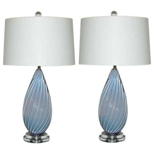 Vintage Murano Bedside Table Lamps in Pale Lavender