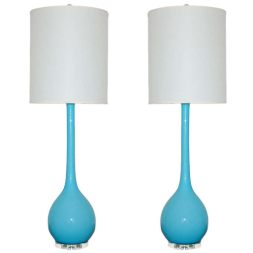 Vintage Murano Long Neck Table Lamps in T-Bird Blue