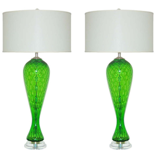 Pair of Vintage Italian Murano Windowpane Glass Lamps in Emerald