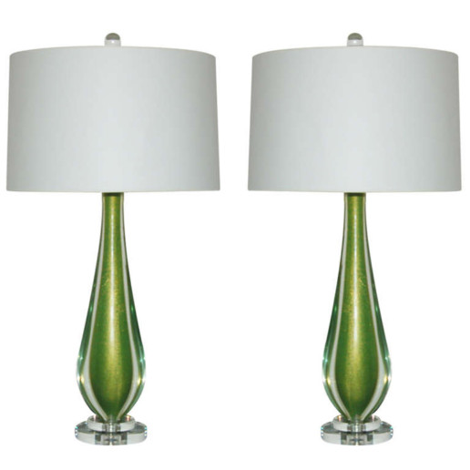 Almond Shaped Sommerso Murano Lamps in Grass Green
