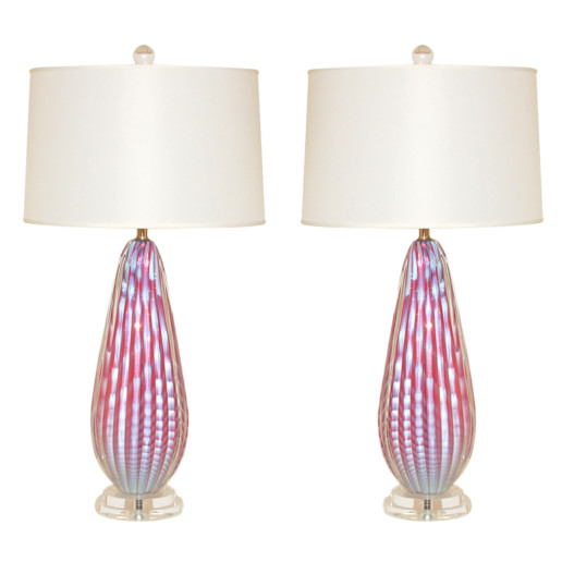 Rare Pair of Opaline Striped Murano Lamps in Cotton Candy