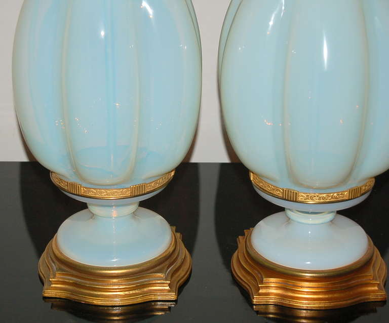 Pair Of White Opaline Murano Lamps By The Marbro Lamp