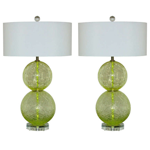 Pair of Vintage Murano Ball Lamps in Lime Frost