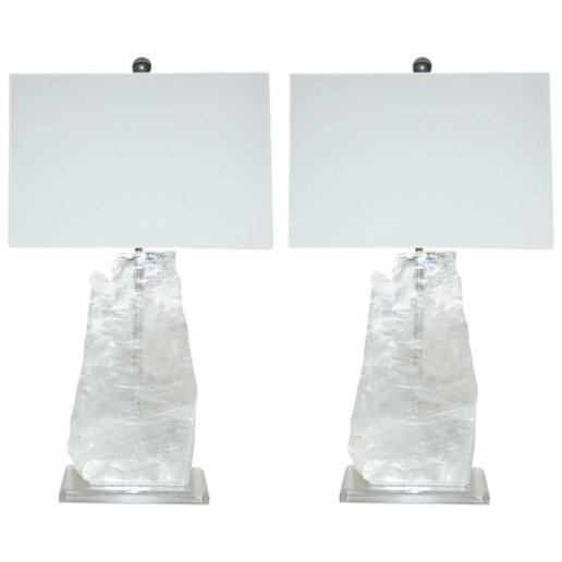 Pair of Vintage Selenite Table Lamps