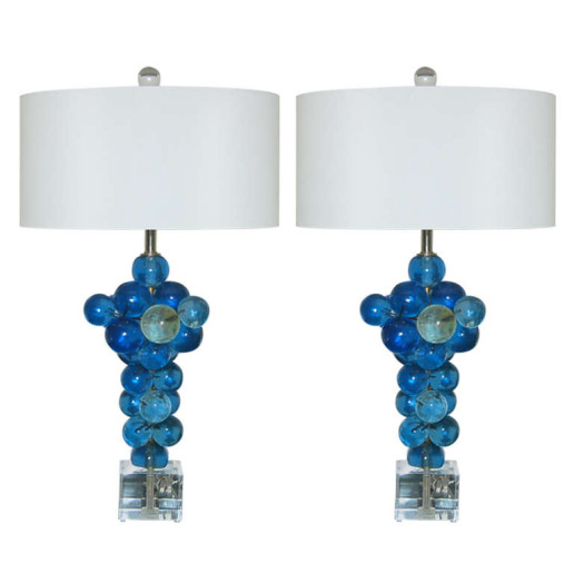 Bubble Lamps of Resin by Silvano Pantani, 1966, in Blue Green