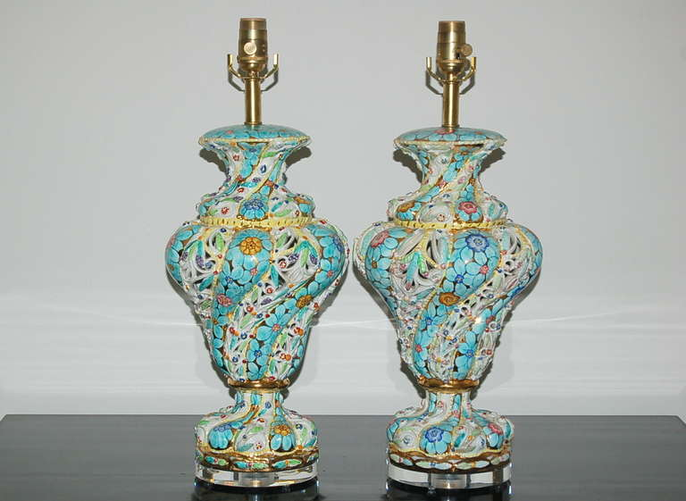 Wonderful Pair Of Vintage Italian Capodimonte Pierced Table Lamps