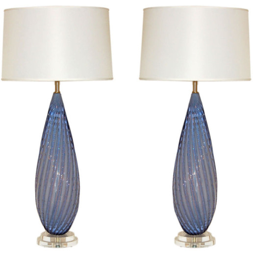 Pair of Vintage Murano Lamps in Lavender Opaline