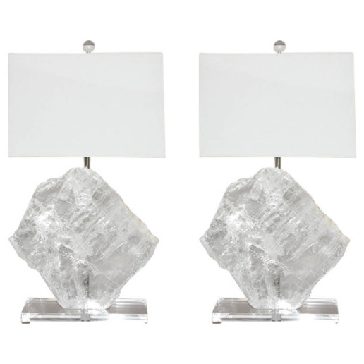 Matched Pair of Medium Selenite Table Lamps