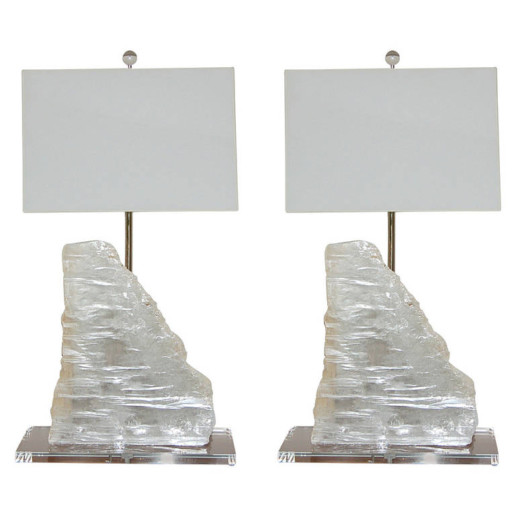 Matched Pair of Monumental Selenite Lamps