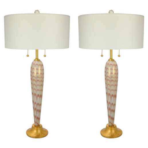 Pair of Vintage Murano Pulled Feather Table Lamps of Lilac and Cream