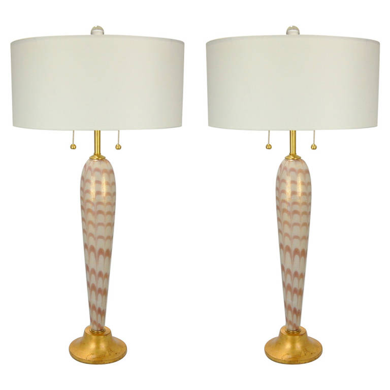 Pair of vintage murano pulled feather table lamps of lilac and cream pair of vintage murano pulled feather table lamps of lilac and cream aloadofball Gallery