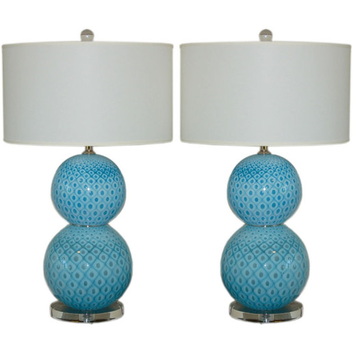 Giorgio Ferro - Stacked Ball Murano Lamps with Peacock Design