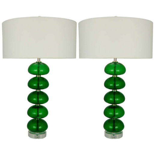 Stacked Font Vintage Murano Lamps in Emerald