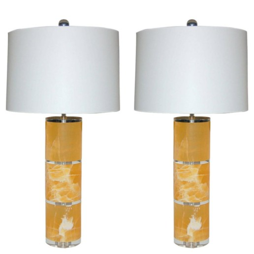 Pair of Tangerine Calcite Column Table Lamps