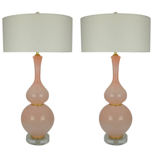 Pair of Curvaceous Opaline Murano Lamps in Pale Pink
