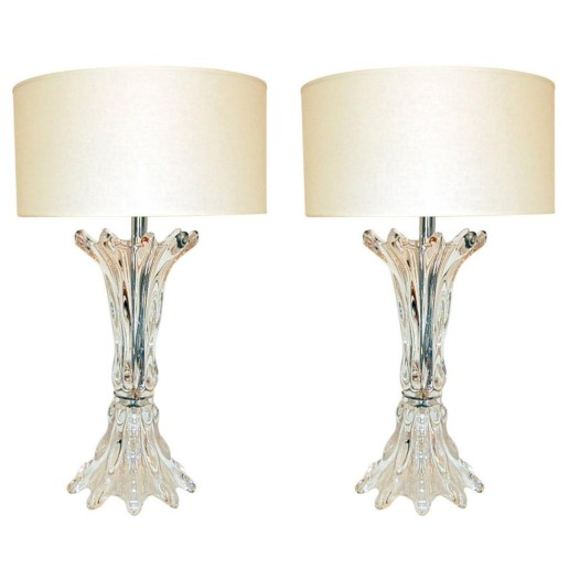 Pair of Gigantic Vintage French Glass Murano Style Sculpted Lamps