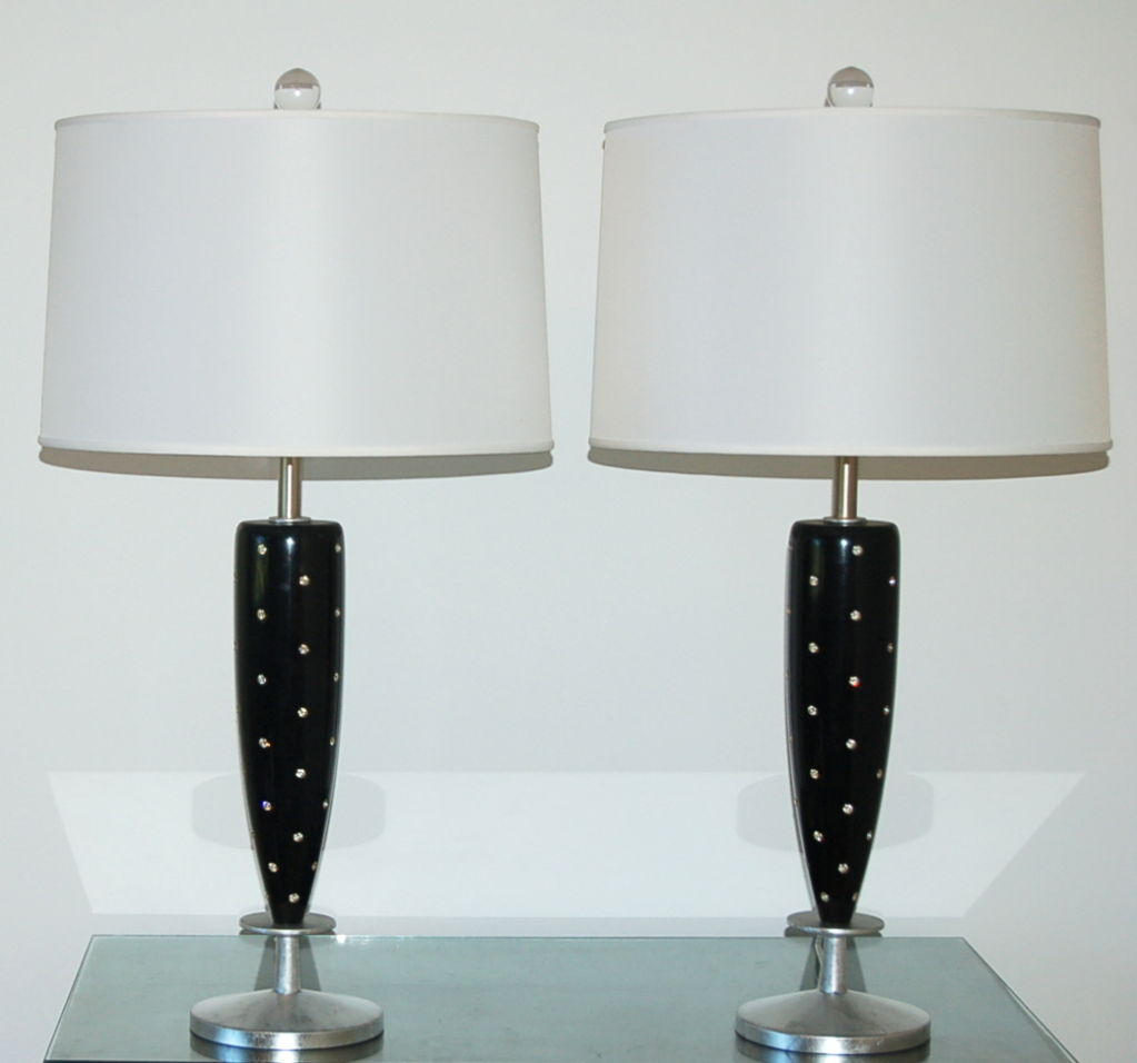 Rembrandt Rhinestone Studded Wood Table Lamps Black