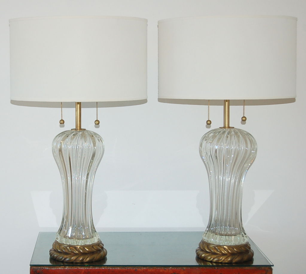 vintage murano clear glass lamps by the marbro lamp company swank lighting. Black Bedroom Furniture Sets. Home Design Ideas